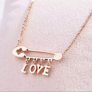 18K Rose Gold-plated Safety Pin LOVE Necklace